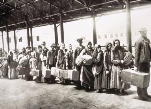 Ellis Island Immigrants Waiting for Ferry
